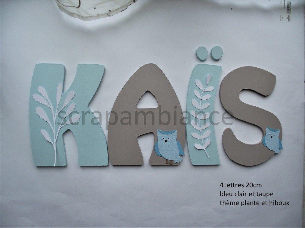 lettre prénom en bois ; plaque de porte, lettre en bois personnalisé : HIBOUX et PLANTES 20cm à coller