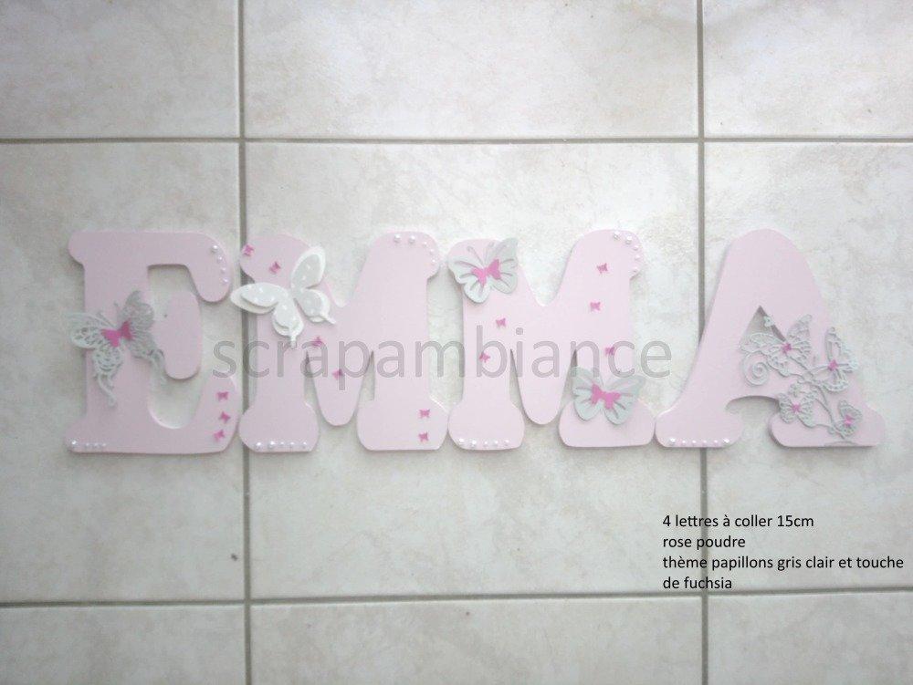 lettre prénom en bois ; plaque de porte, lettre en bois personnalisé, prénom de porte :  PAPILLONS et STARSS 20cm à coller