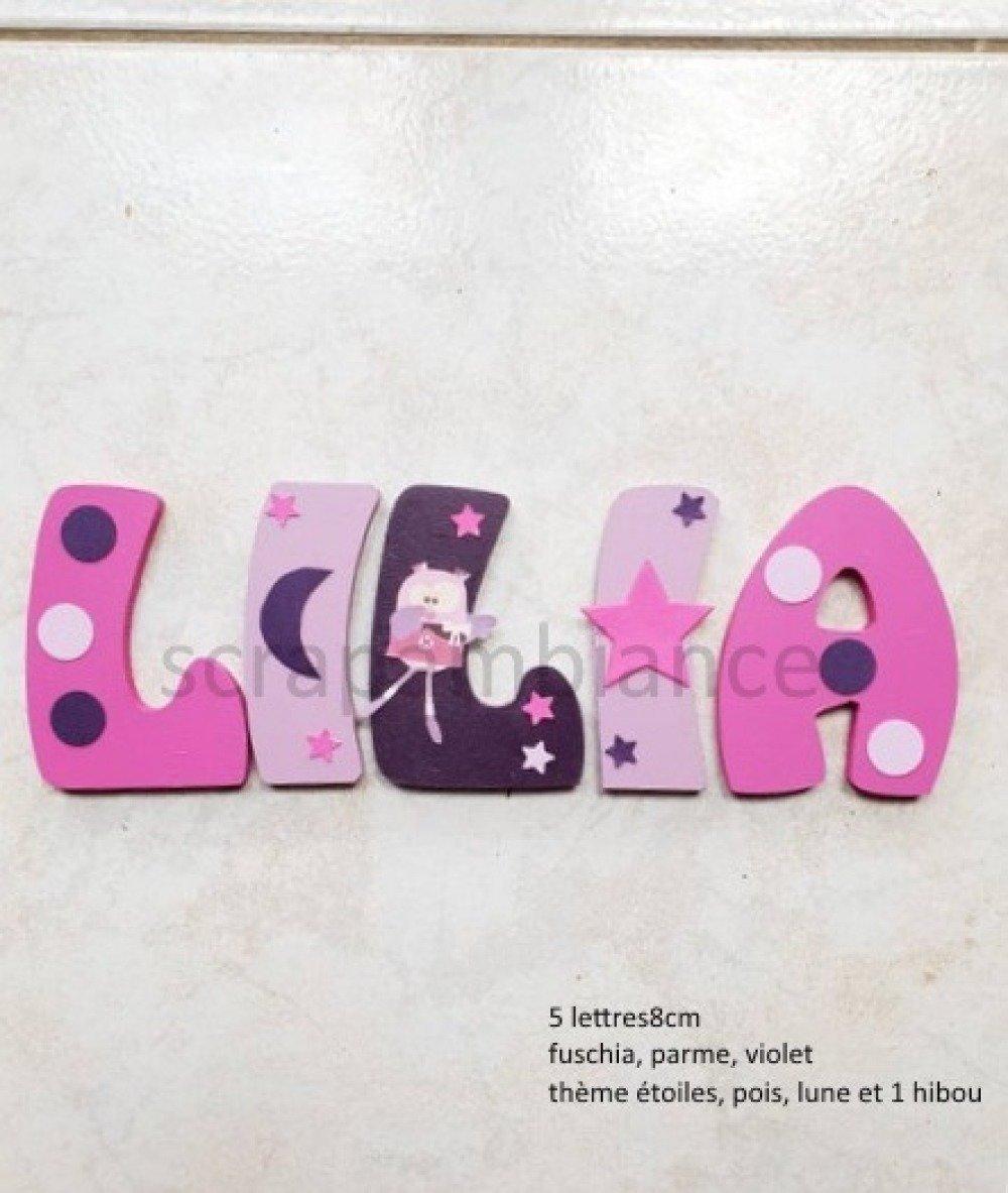 Lettre prénom en bois / décoration chambre bébé / lettres en bois  personnalisé 19cm thème hiboux, pois, lune