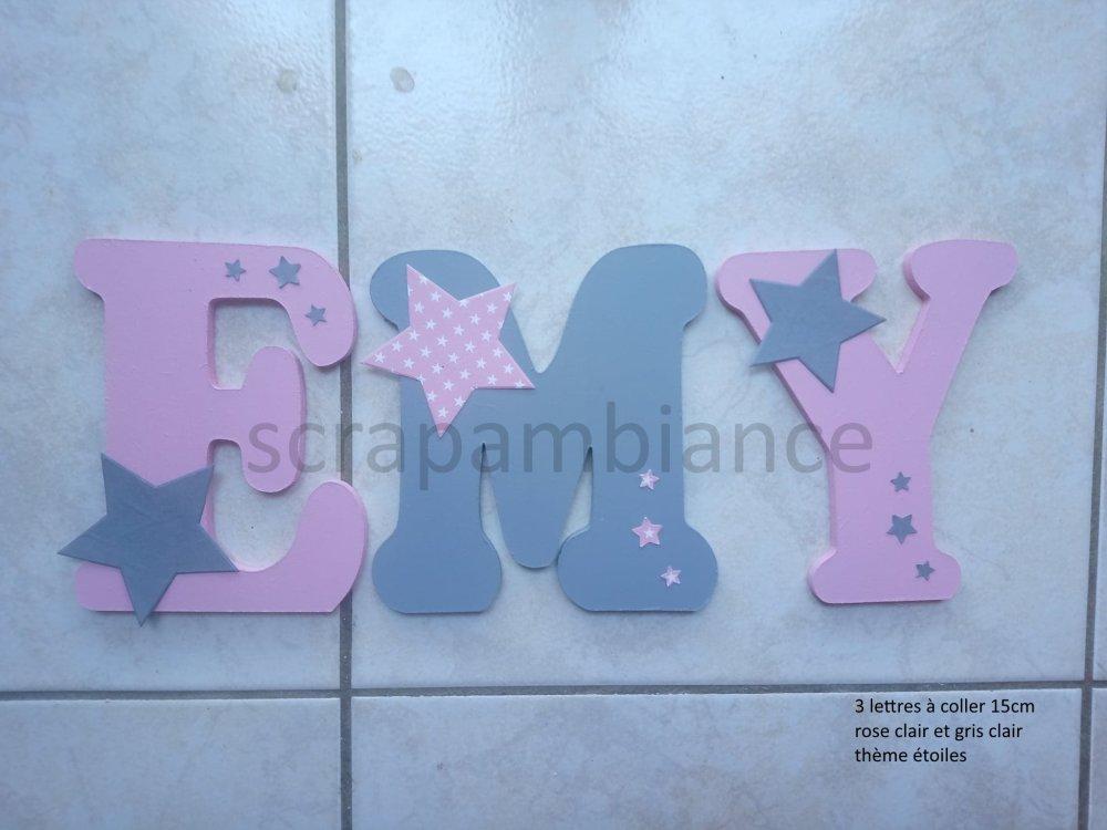 lettre prénom en bois / décoration chambre bébé / plaque de porte / lettres en bois personnalisé ETOILES 15cm à coller