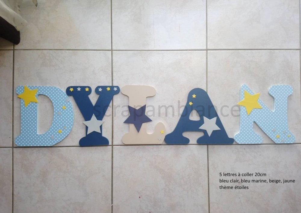 lettres prénom en bois ; lettre en bois personnalisé ; thème ETOILES  20cm
