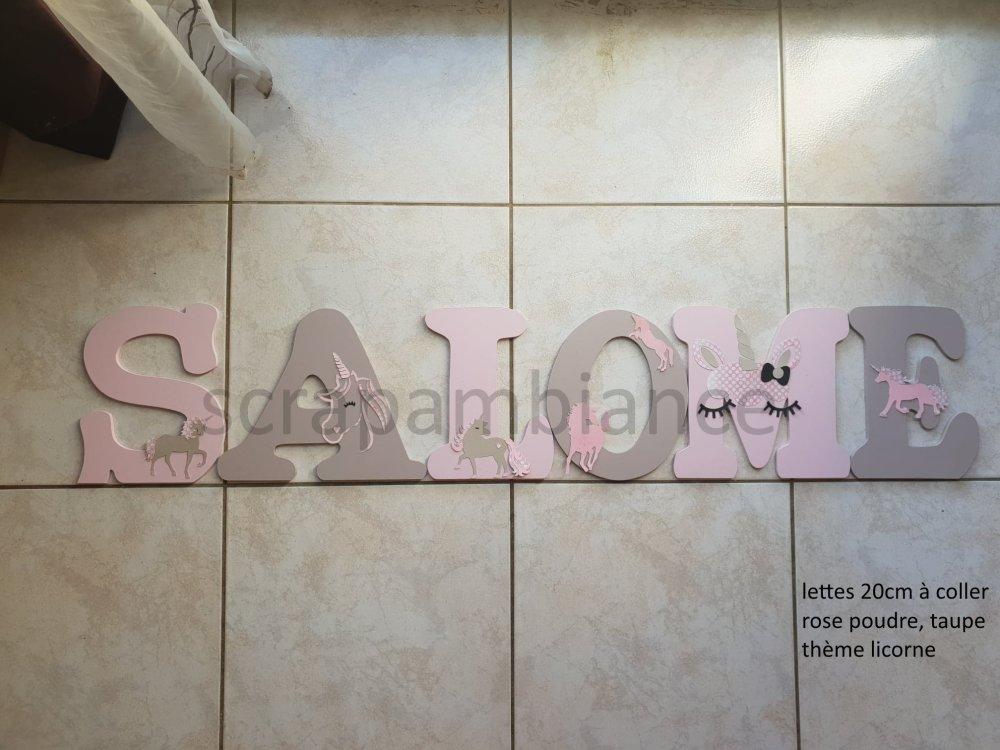 lettre prénom en bois, décoration chambre bébé, prénom à poser, lettre à poser personnalisé thème LICORNE
