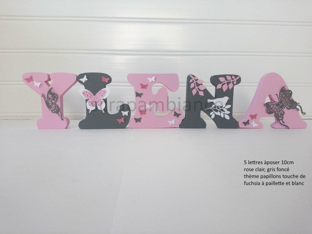 lettres prénom en bois, prénom en bois ,lettre chambre bébé personnalisé hauteur 10cm  thème PAPILLONS