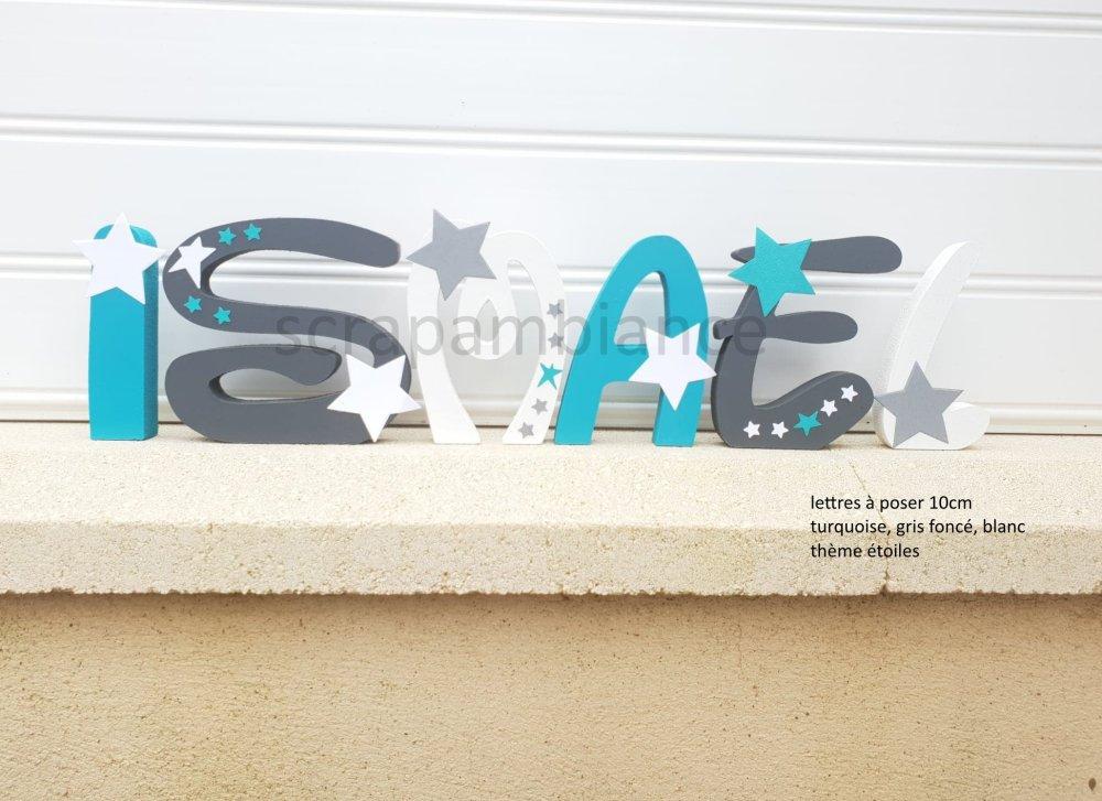 lettres prénom en bois , lettre à poser, prénom en bois , personnalisé hauteur ETOILES, 10cm