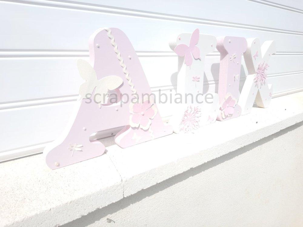 lettres prénom en bois , lettre à poser, prénom en bois , personnalisé hauteur 20cm thème nature et strass