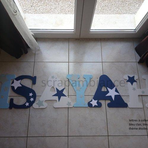 Lettre prénom bois, décoration chambre bébé ; plaque de porte, lettre en bois personnalisé : etoiles  30cm