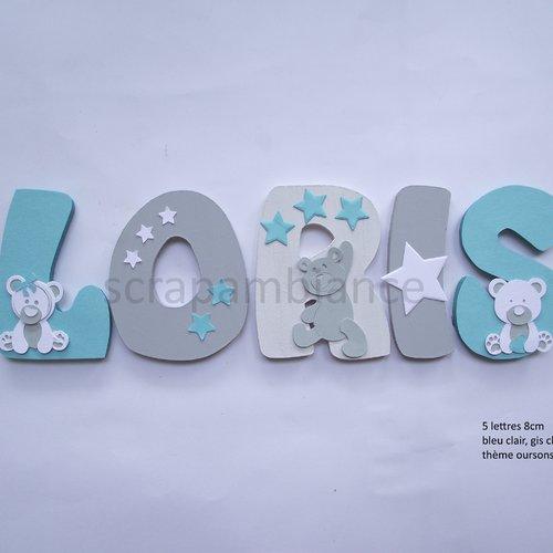 Lettre prénom en bois / décoration chambre bébé / plaque de porte / lettres en bois personnalisé. haut: 8cm thème oursons et etoiles