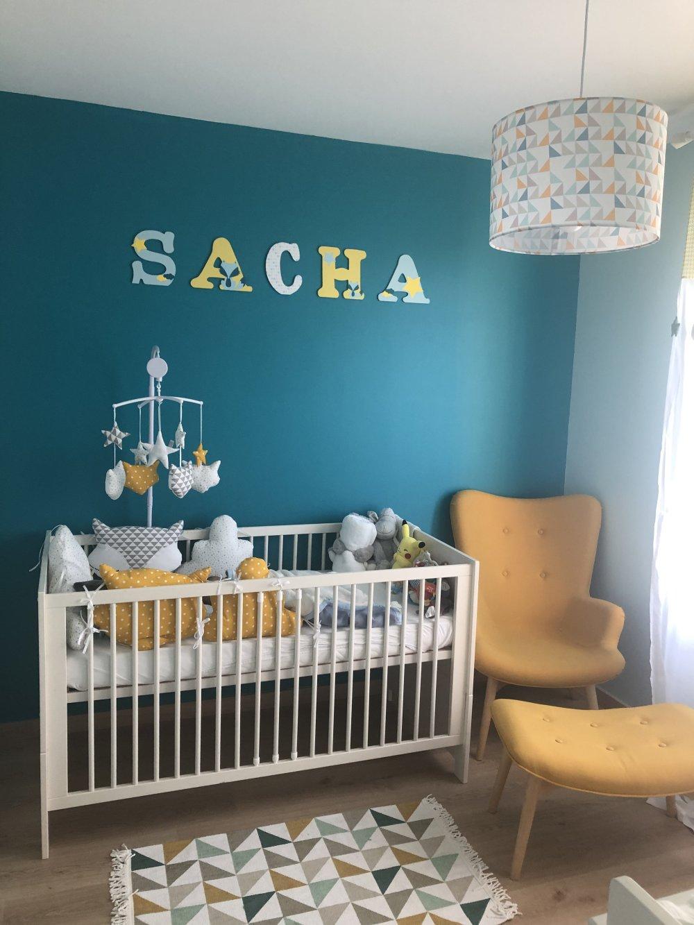 Lettre prénom bois, décoration chambre bébé ; plaque de porte, lettre en  bois personnalisé : renard et etoiles 20cm