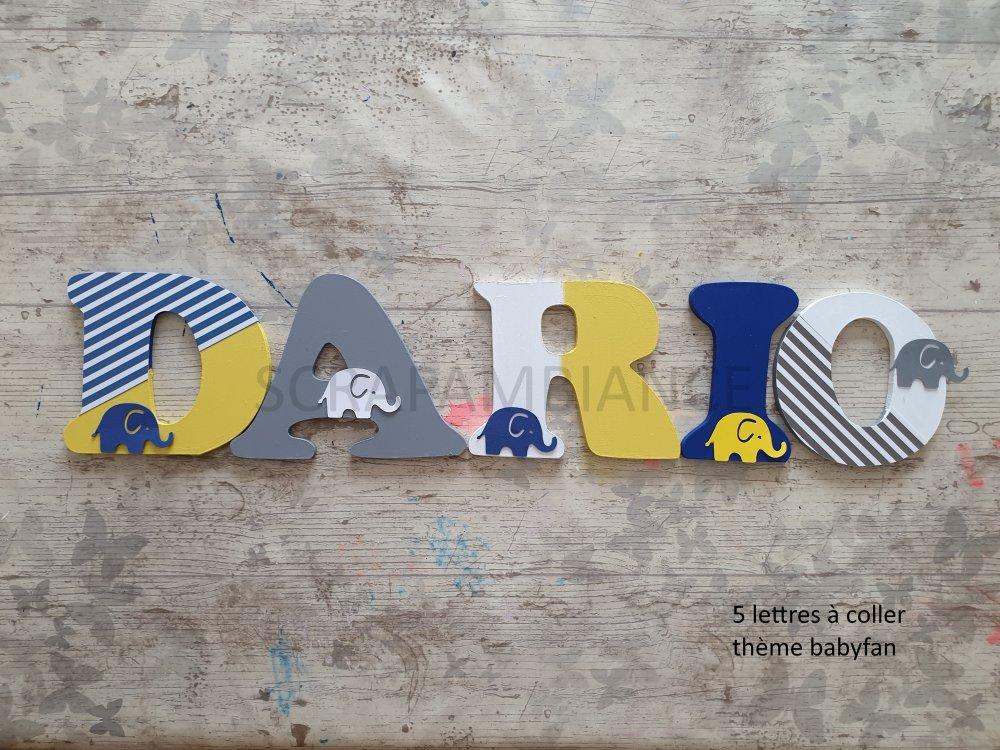 lettre prénom en bois / décoration chambre bébé / lettres en bois personnalisé thème BABYFAN 10cm à coller