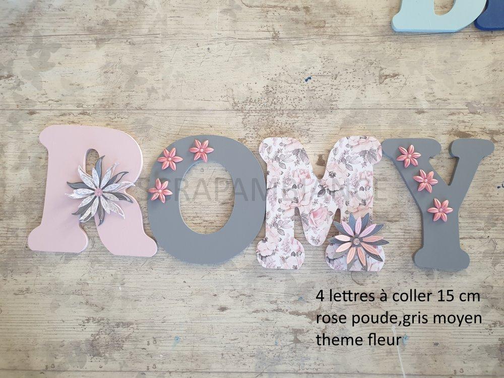 lettre prénom en bois / décoration chambre bébé / plaque de porte / lettres en bois thème  FLEURS 15cm à coller