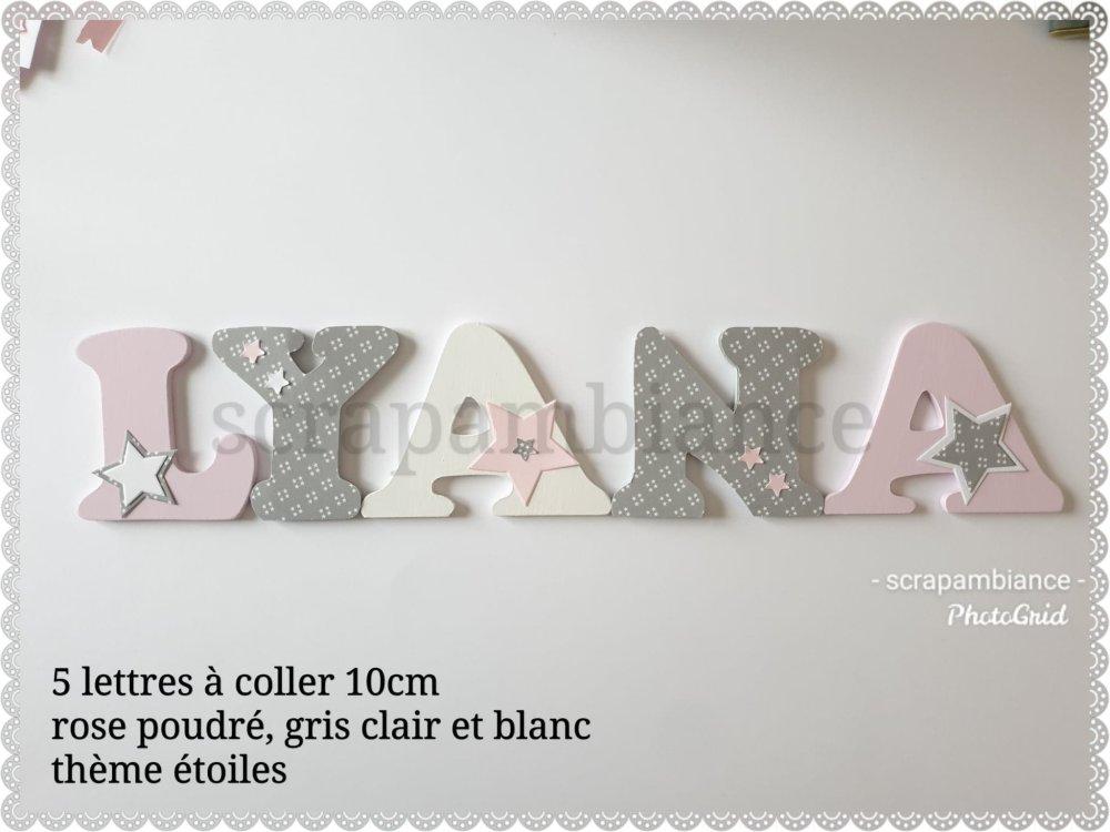 lettre prénom en bois / décoration chambre bébé / lettres personnalisé thème étoiles 10cm à coller