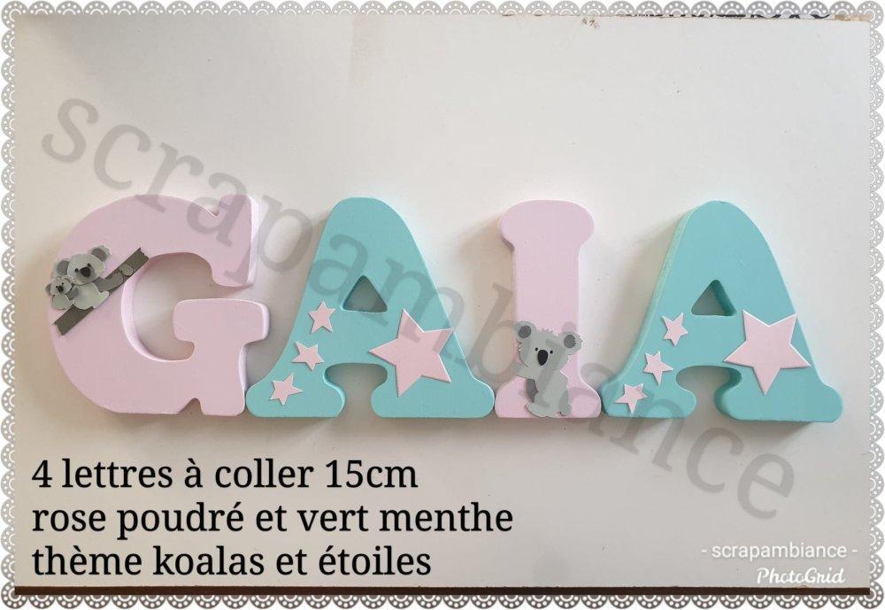 lettre prénom en bois / décoration chambre bébé / plaque de porte / lettres en bois thème  koalas 15cm à coller