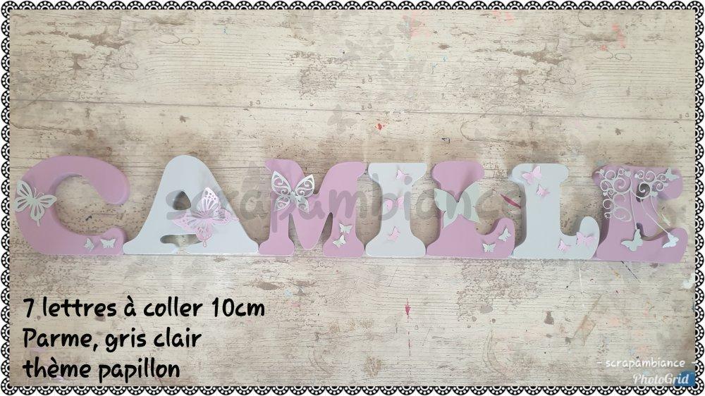 lettre prénom en bois / décoration chambre bébé / lettres personnalisé thème papillons 10cm à coller