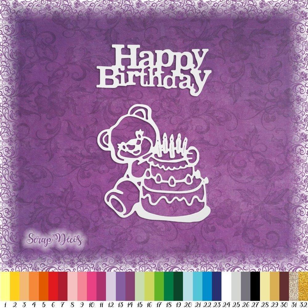 """Découpes scrapbooking """"Gâteau d'anniversaire, nounours, happy birthday, bougies"""" embellissement die 32 couleurs disponibles (Ref.2302)"""