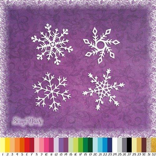 Découpes scrapbooking 4 flocons de neige, hiver, noël - ref.2328