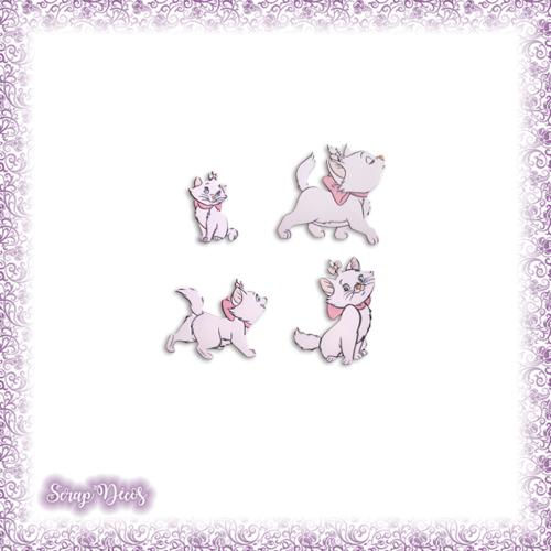 4 découpes scrapbooking marie, les aristochats, chat, félin animal amour en couleurs - ref.2259
