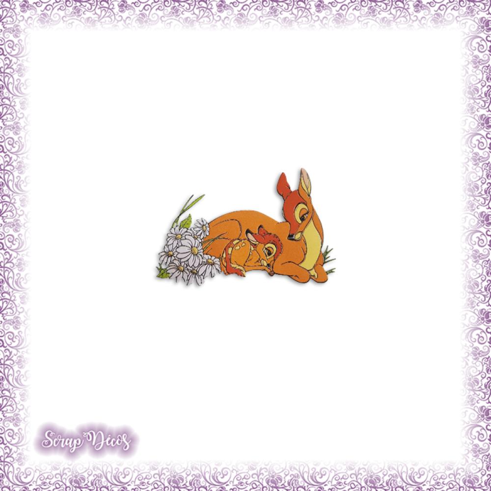 Découpe scrapbooking Bambi et sa mère, faon, biche, cerf, forêt, ami en couleurs embellissement die cut (Ref.2514)