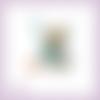 Découpe scrapbooking fée, fleur, elfe, princesse, robe turquoise, magie, fille, en couleurs - ref.2529