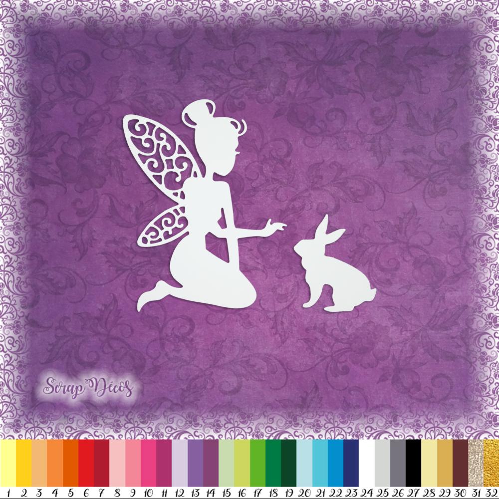 Découpe scrapbooking Fée et lapin, magie, princesse embellissement die cut découpe papier scrap (Ref.1389)