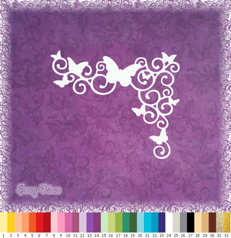 """Découpe scrapbooking coin de page """"Papillons et arabesques"""" embellissement die cut 32 couleurs disponibles (Ref.1382)"""