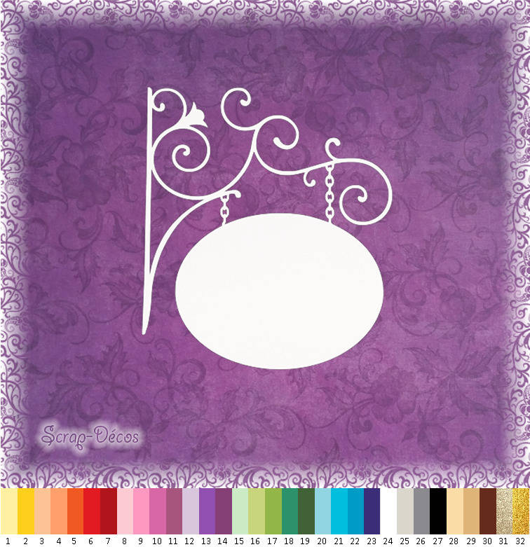 """Découpe scrapbooking """"Grande enseigne/pancarte murale ovale"""" embellissement die cut 32 couleurs disponibles (Ref.0113)"""