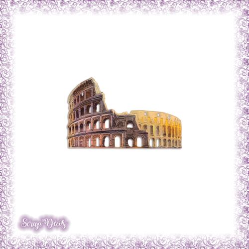 Découpe scrapbooking colisée rome italie voyage vacances monument antique en couleurs embellissement die découpe papier scrap (ref.2916)