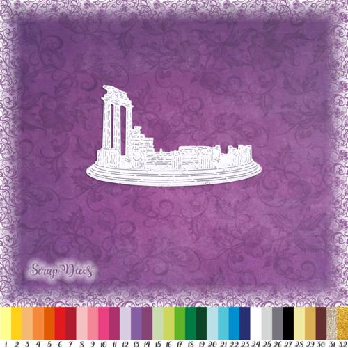 Découpe scrapbooking monument delphes grèce voyage vacances antiquité tholos embellissement die cut découpe papier scrap (ref.3016)