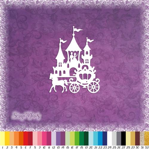 Découpe scrapbooking château carrosse princesse magie conte fées féerie histoire embellissement die cut découpe papier scrap (ref.2723)