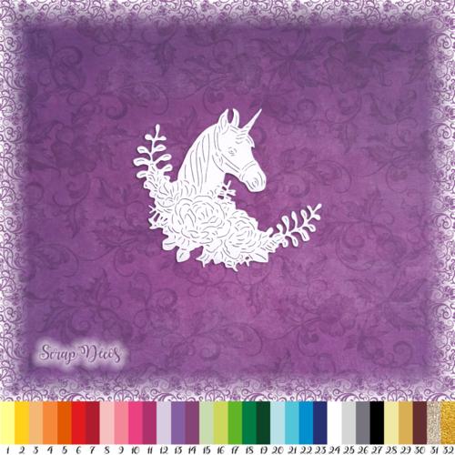 Découpe scrapbooking licorne fleurs feuilles princesse magie conte fées histoire embellissement die cut découpe papier scrap (ref.2984)