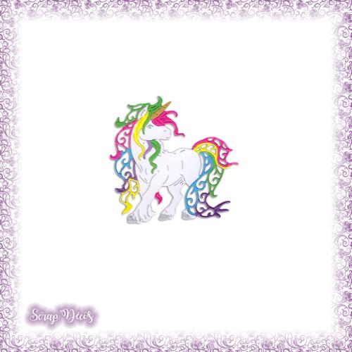 Découpe scrapbooking bébé licorne conte fées princesse magie en couleurs vives embellissement die cut découpe papier scrap (ref.2983)