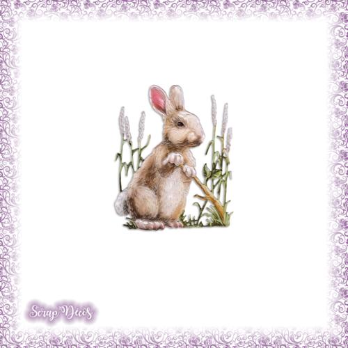 Découpe scrapbooking lapin herbes rongeur animal campagne feuilles nature en couleurs embellissement die découpe papier scrap (ref.2979)