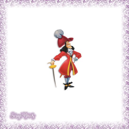 Découpe scrapbooking capitaine crochet peter pan halloween dessin animé en couleurs - ref.2562