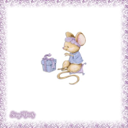 Découpe scrapbooking souris cadeau anniversaire noël surprise animal en couleurs embellissement die cut découpe papier scrap (ref.3022)
