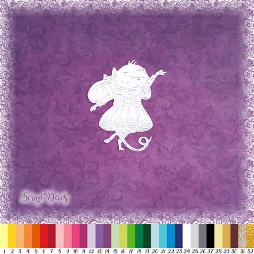 Découpe scrapbooking souris fête joie robe confettis animal embellissement die cut découpe papier scrap (ref.3023)