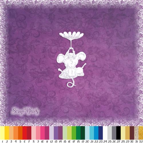 Découpe scrapbooking souris fleur parachute animal embellissement die cut découpe papier scrap (ref.3025)