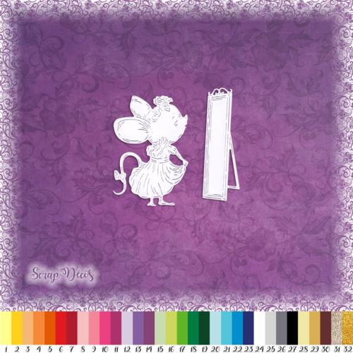 Découpe scrapbooking souris miroir robe mode animal embellissement die cut découpe papier scrap (ref.3027)