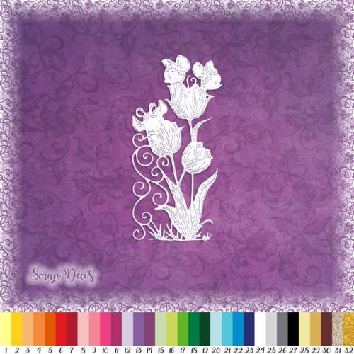 Découpe scrapbooking souris tulipes fleurs enfant naissance nature animal embellissement die cut découpe papier scrap (ref.3031)