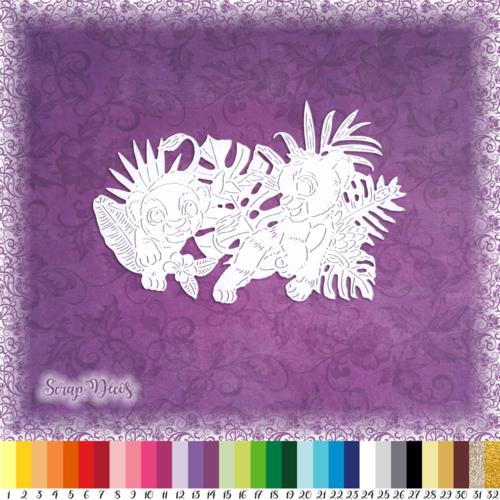 Découpe scrapbooking simba nala le roi lion savane jungle naissance anniversaire - ref.3176