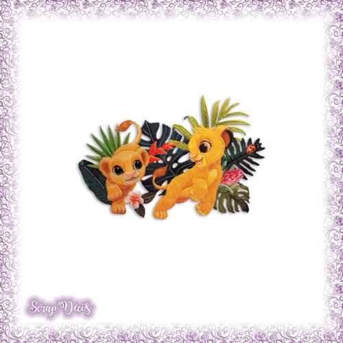 Découpe scrapbooking simba nala le roi lion savane jungle naissance en couleurs - ref.3177
