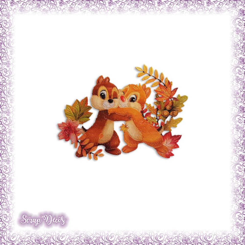 Découpe scrapbooking Tic et Tac écureuils forêt nature automne naissance en couleurs embellissement die cut carte papier scrap (Ref.3182)
