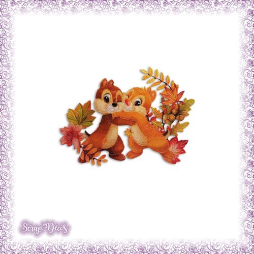 Découpe scrapbooking tic et tac écureuils forêt nature automne naissance en couleurs - ref.3182