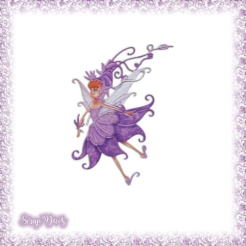 Découpe scrapbooking fée mauve magie elfe conte féerie étoile princesse en couleurs - ref.3200