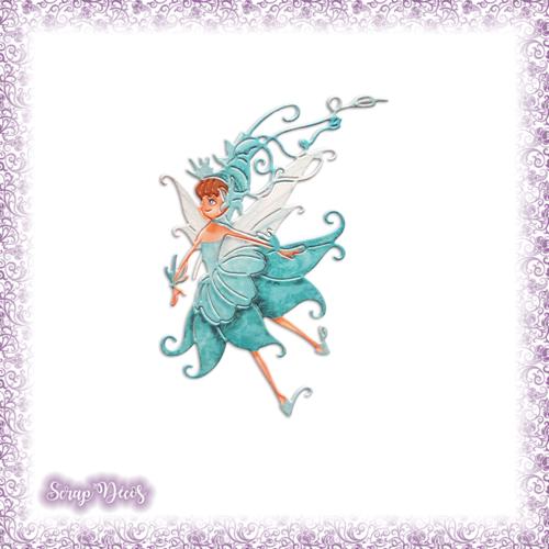 Découpe scrapbooking fée turquoise magie elfe conte féerie étoile princesse en couleurs - ref.3198
