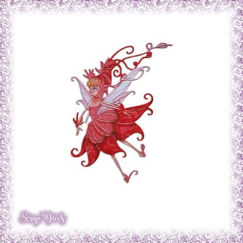 Découpe scrapbooking fée rouge magie elfe conte féerie étoile princesse en couleurs - ref.3196