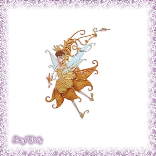 Découpe scrapbooking fée jaune magie elfe conte féerie étoile princesse en couleurs - ref.3192
