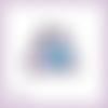 Découpe scrapbooking pingouins coeur bleu amour naissance bébé anniversaire mariage en couleurs embellissement die papier (ref.3211)