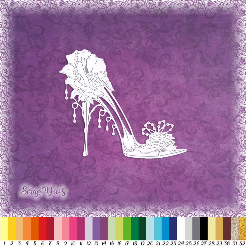 Découpe scrapbooking Chaussure femme rose accessoire mode sac mariage escarpin embellissement die cut carte papier scrap (Ref.3187)