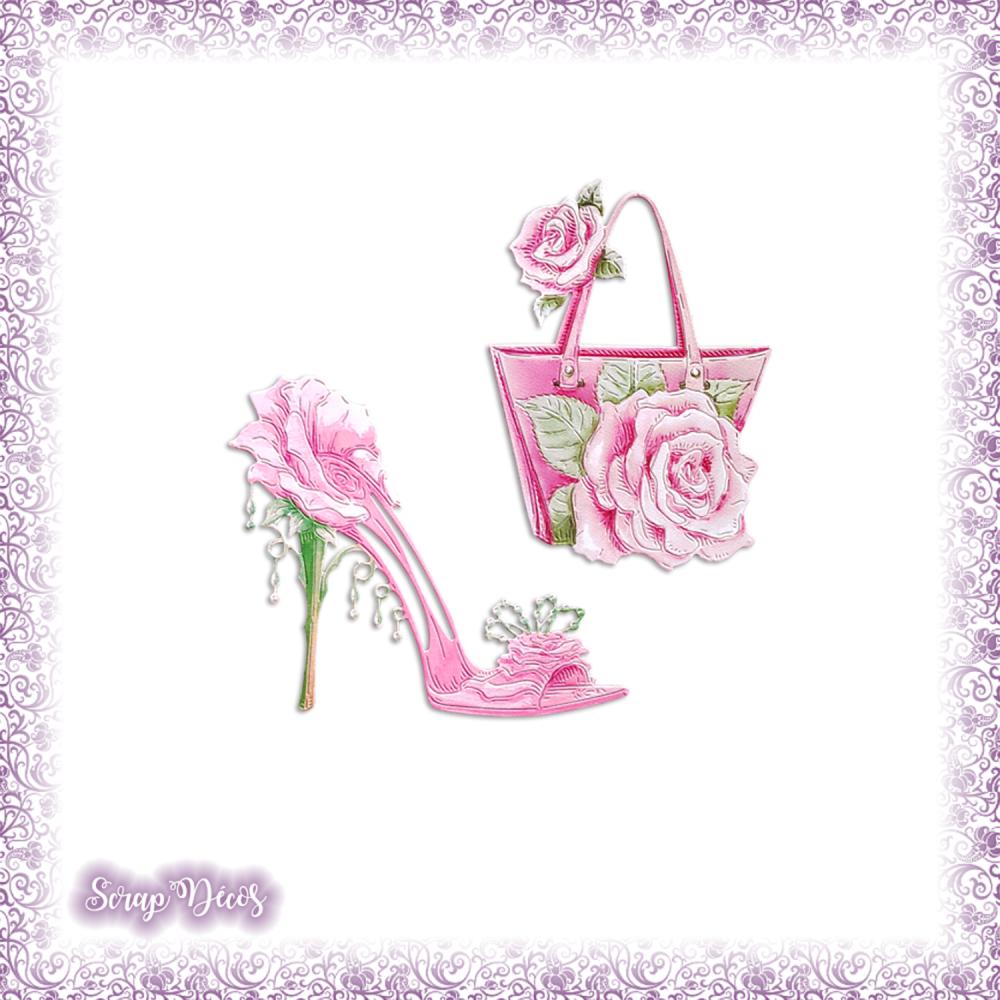 Découpes scrapbooking Sac à main chaussure rose fleur femme accessoire mode mariage en couleurs embellissement die carte papier (Ref.3219)