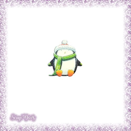 Découpe scrapbooking pingouin écharpe noël en couleurs - ref.3167