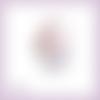 Découpe scrapbooking etiquette fleurs pervenches papillon en couleurs (ref.3352)